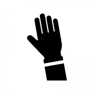 挙手の白黒シルエットイラスト