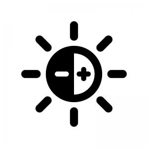 明るさ調整の白黒シルエットイラスト