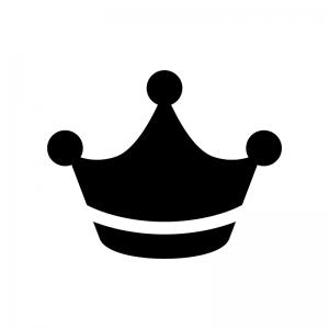 王冠の白黒シルエットイラスト09