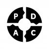 PDCAサイクルの白黒シルエットイラスト