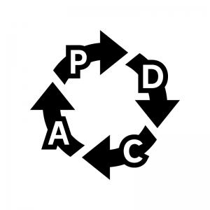 PDCAサイクルの白黒シルエットイラスト03