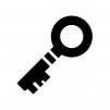 アンティークな鍵の白黒シルエットイラスト03