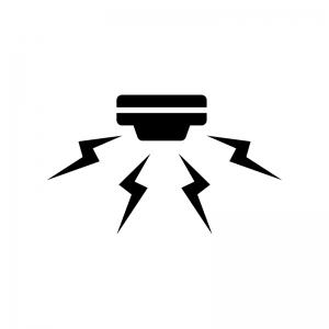 警報機・火災報知器の白黒シルエットイラスト