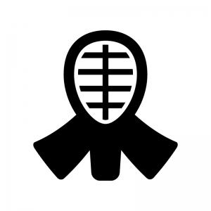 剣道の面の白黒シルエットイラスト