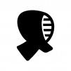 剣道の面の白黒シルエットイラスト02