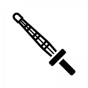 剣道の竹刀の白黒シルエットイラスト