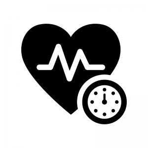 血圧測定の白黒シルエットイラスト