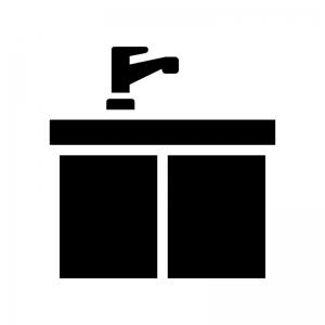 キッチンシンクの白黒シルエットイラスト02