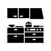 キッチン・台所の白黒シルエットイラスト02