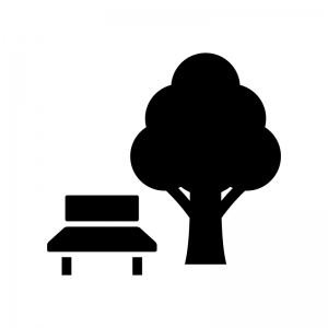 公園の白黒シルエットイラスト