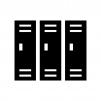 更衣室・ロッカーの白黒シルエットイラスト
