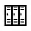 更衣室・ロッカーの白黒シルエットイラスト02