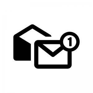メール通知の白黒シルエットイラスト02