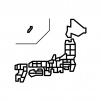 都道府県別・日本地図の白黒シルエットイラスト