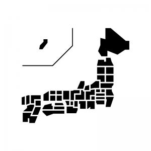 都道府県別日本地図のシルエット03 無料のaipng白黒シルエットイラスト