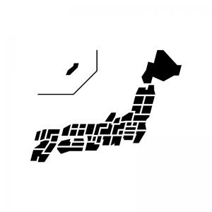 都道府県別・日本地図の白黒シルエットイラスト04