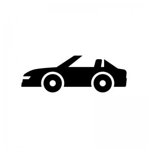 自動車・オープンカーの白黒シルエットイラスト