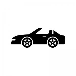 自動車・オープンカーの白黒シルエットイラスト02