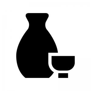 日本酒・徳利とおちょこの白黒シルエットイラスト