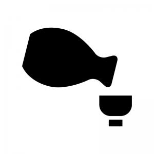 日本酒・徳利とおちょこの白黒シルエットイラスト02