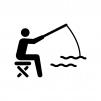 魚釣りしている人物の白黒シルエットイラスト