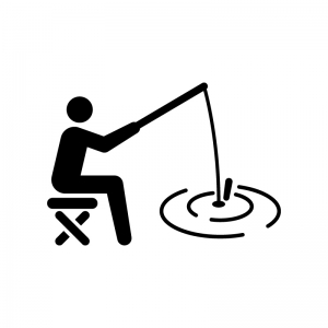 魚釣りしている人物の白黒シルエットイラスト02