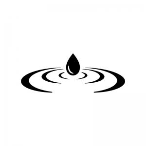 波紋の白黒シルエットイラスト