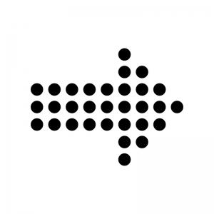 丸ドットの矢印の白黒シルエットイラスト02
