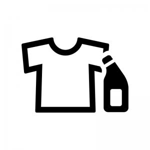 洗濯洗剤・漂白剤とシャツの白黒シルエットイラスト