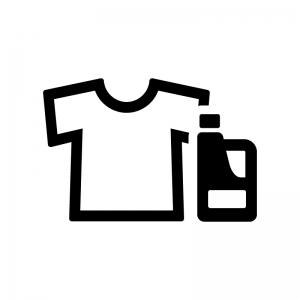 洗濯洗剤・漂白剤とシャツの白黒シルエットイラスト02