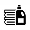 柔軟剤・洗濯洗剤とタオルの白黒シルエットイラスト02