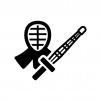 剣道の白黒シルエットイラスト