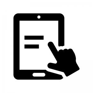 タブレット端末を操作の白黒シルエットイラスト02