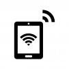 タブレット端末とWi-Fiの白黒シルエットイラスト