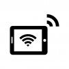 タブレット端末とWi-Fiの白黒シルエットイラスト02