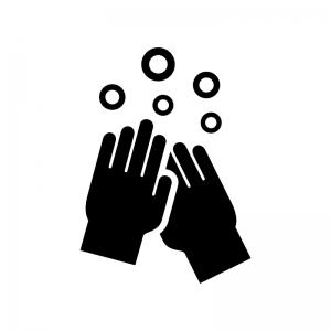 手洗いの白黒シルエットイラスト02