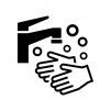 手洗いの白黒シルエットイラスト03