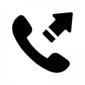 電話発信の白黒シルエットイラスト