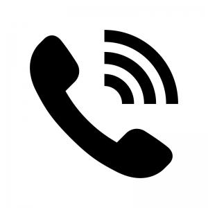 電話の発信・着信の白黒シルエットイラスト02