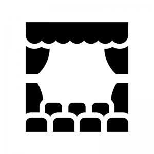 劇場・演劇の白黒シルエットイラスト03