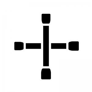 十字レンチの白黒シルエットイラスト