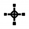 十字レンチの白黒シルエットイラスト02