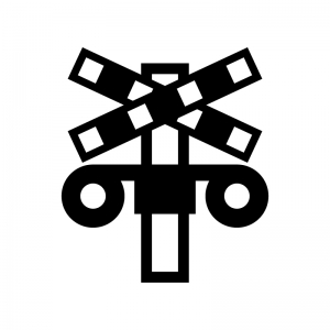 踏切の白黒シルエットイラスト