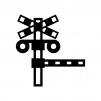 踏切の白黒シルエットイラスト02