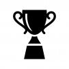 優勝カップ・トロフィーの白黒シルエットイラスト04