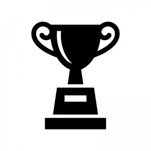 優勝カップ・トロフィーの白黒シルエットイラスト06