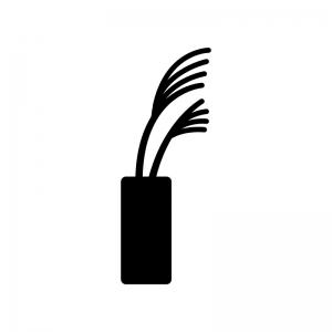 花瓶に入ったススキの白黒シルエットイラスト