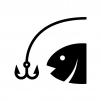 魚釣りの白黒シルエットイラスト