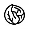 キャベツの白黒シルエットイラスト02