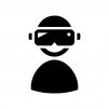 VRで遊ぶ人の白黒シルエットイラスト